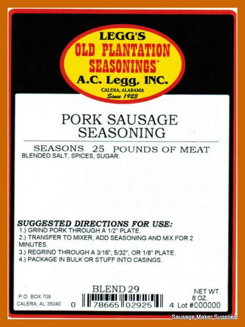 A.C. LEGG OLD PLANTATION Pork Sausage Seasoning Blend 29