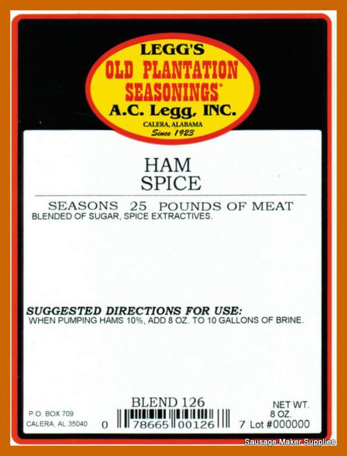 "A.C. LEGGS OLD PLANTATION Ham Spice Blend 126  This seasoning brings home the flavor of ""California ham"" spice."