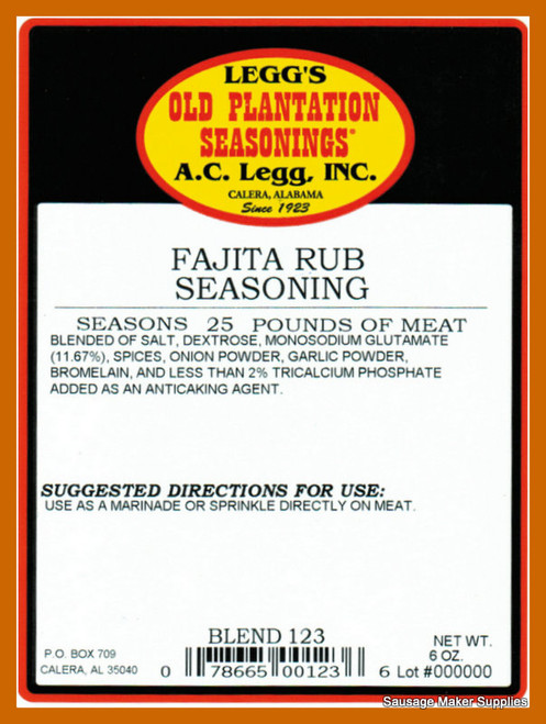 A.C. LEGG OLD PLANTATION Fajita Rub And Seasoning Blend 123  A delicious blend of seasonings to give an authentic Mexican flavor.