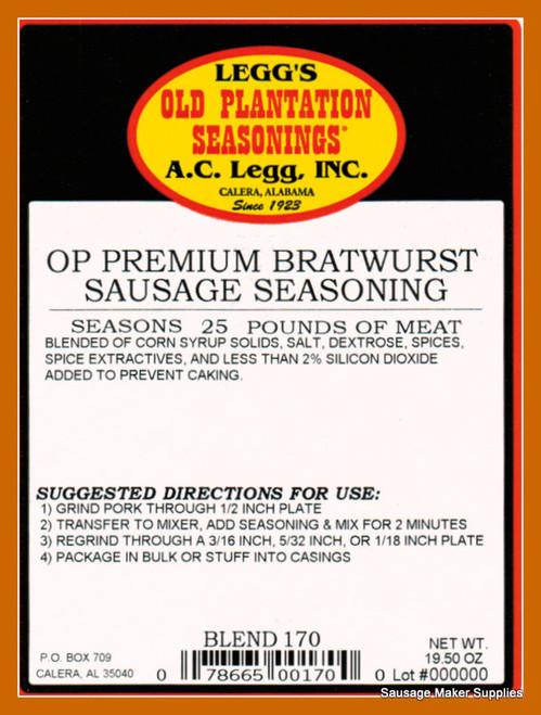 A.C. LEGG OLD PLANTATION PREMIUM BRATWURST SAUSAGE SEASONING BLEND # 170