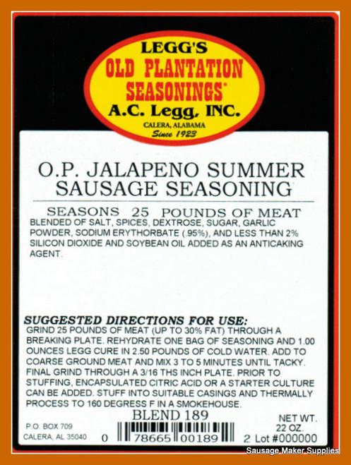 Jalapeno Summer Sausage Seasoning blend # 189