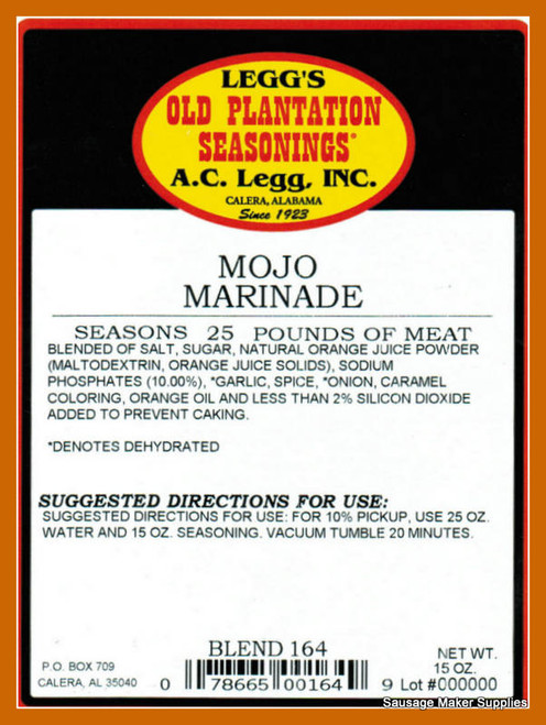 Mojo Marinade  Blend 164  The perfect combination of orange and garlic for flavor and whole herbs for visual appeal makes this marinade an island hit on pork, poultry, and seafood.