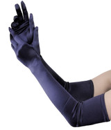 Gloves Satin Long Opera Navy