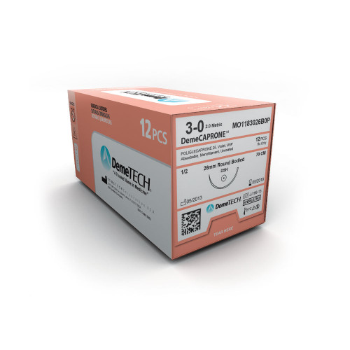 DemeTECH® DemeCAPRONE™ Poliglecaprone Suture - 2/0 - Heavy Taper - DCT-2