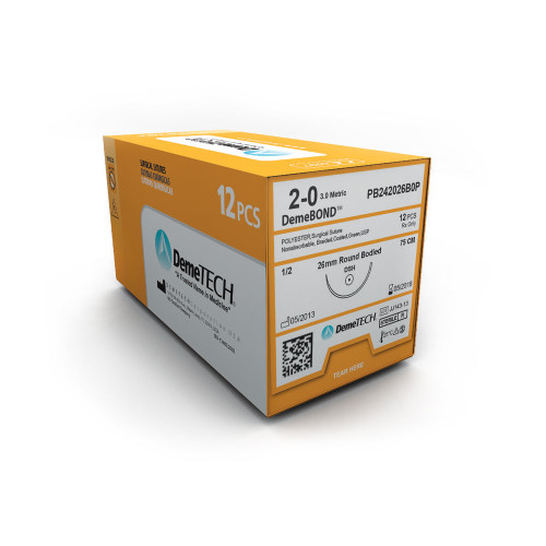 DemeTECH® DemeBOND™  Polyester Braided Suture - 4/0 - Reverse Cutting - DFS-2