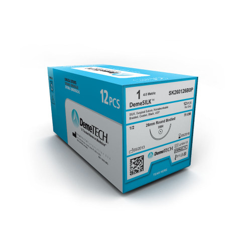 DemeTECH® DemeSILK™ Silk Suture - 0 - Curved Cutting