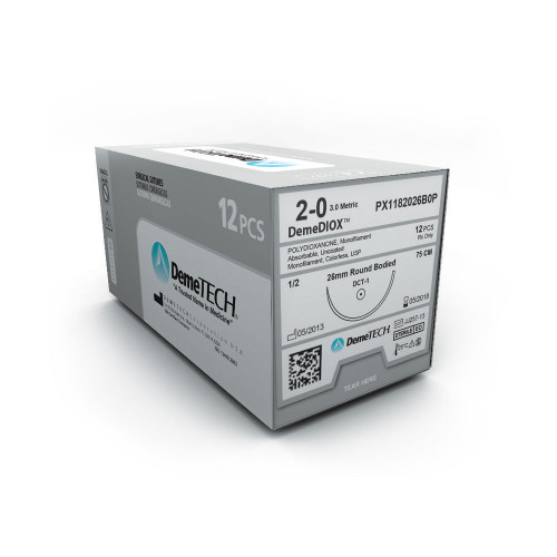 DemeTECH® DemeDIOX™ Polydioxanone Suture - 2/0 - Taper Heavy - DCT-2 - 75 cm Violet