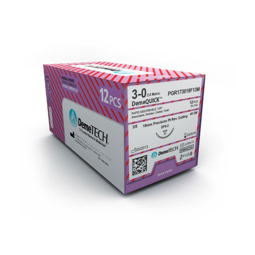 DemeTECH® DemeQUICK™ Rapid Absorbable Suture - 4/0 - Reverse Cutting - DFS-1 - 75 cm violet
