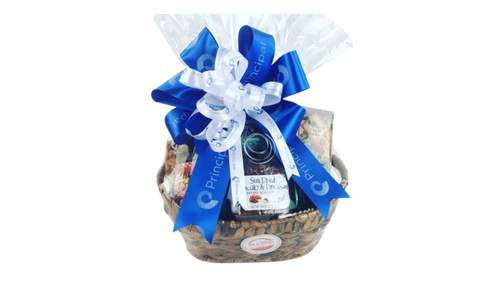 Customize a Corporate gift basket that represents your business with a corporate gift basket. We can imprint ribbon for you for an additional personalized touch