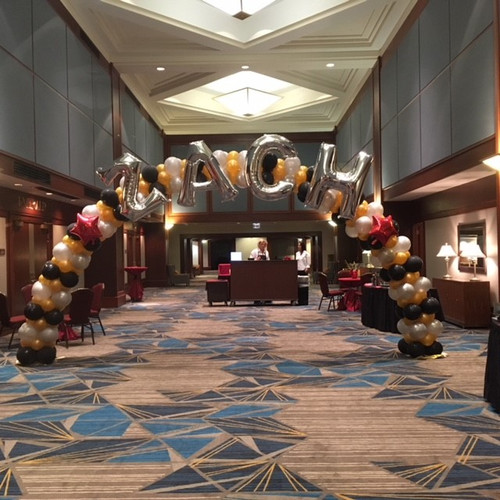 Balloon arches customized for all occasions.  Here's a Bar Mitzvah arch in a hotel lobby.