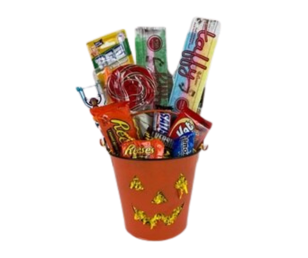 fall or Halloween basket of treats for everyone.