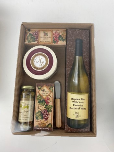 Wine connoisseur? You choose the wine for this cheese and crackers gift.