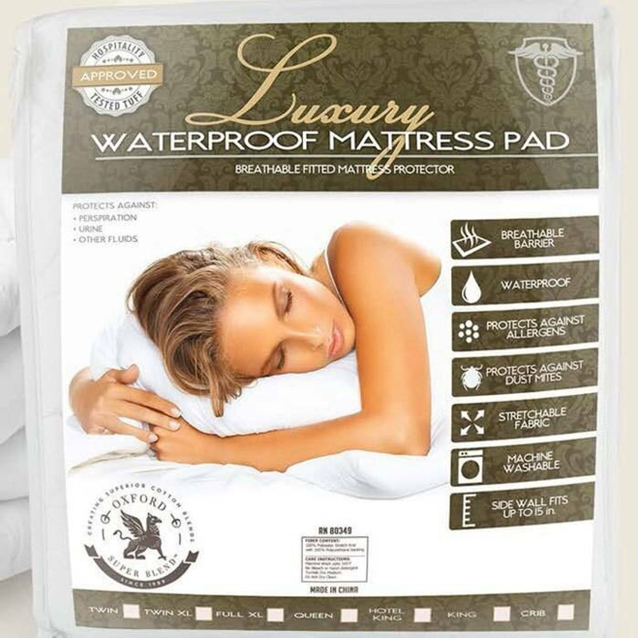 Ganesh Mills or Oxford Super Blend Ganesh Mills or Three or Layer Quilted Fitted or Waterproof Mattress Pad
