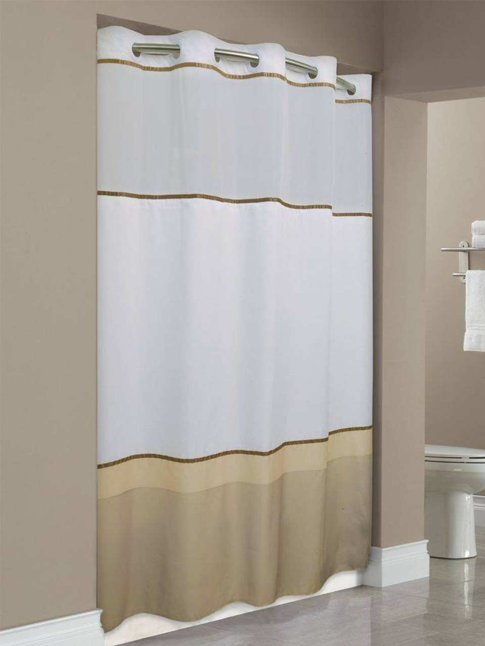 Focus Product Group Wellington or Hookless or Polyester or Shower Curtain or Pack of 12