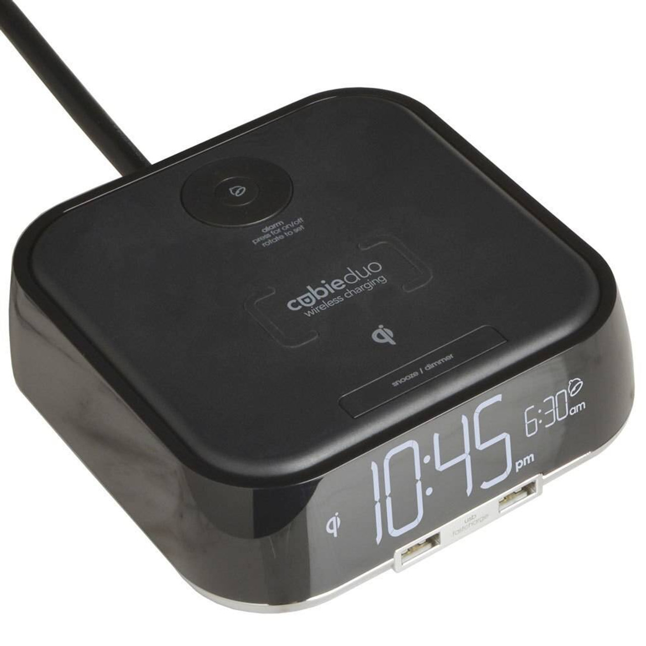 Brandstand BRANDSTAND CUBIEDUO ALARM CLOCK W/ QI WIRELESS CHARGING and 2 USB PORTS BLACK