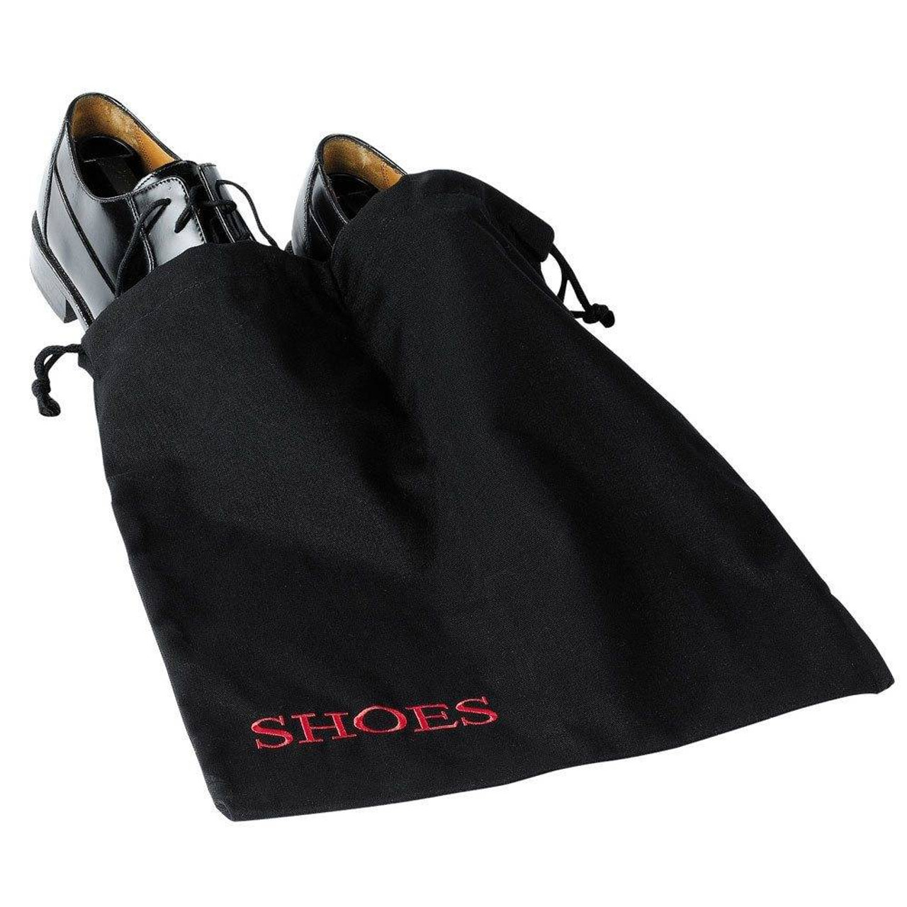 HOSPITALITY 1 SOURCE AMENITY BAGS or HOSPITALITY 1 SOURCE or SHOE BAG or BLACK/RED EMBROIDERY