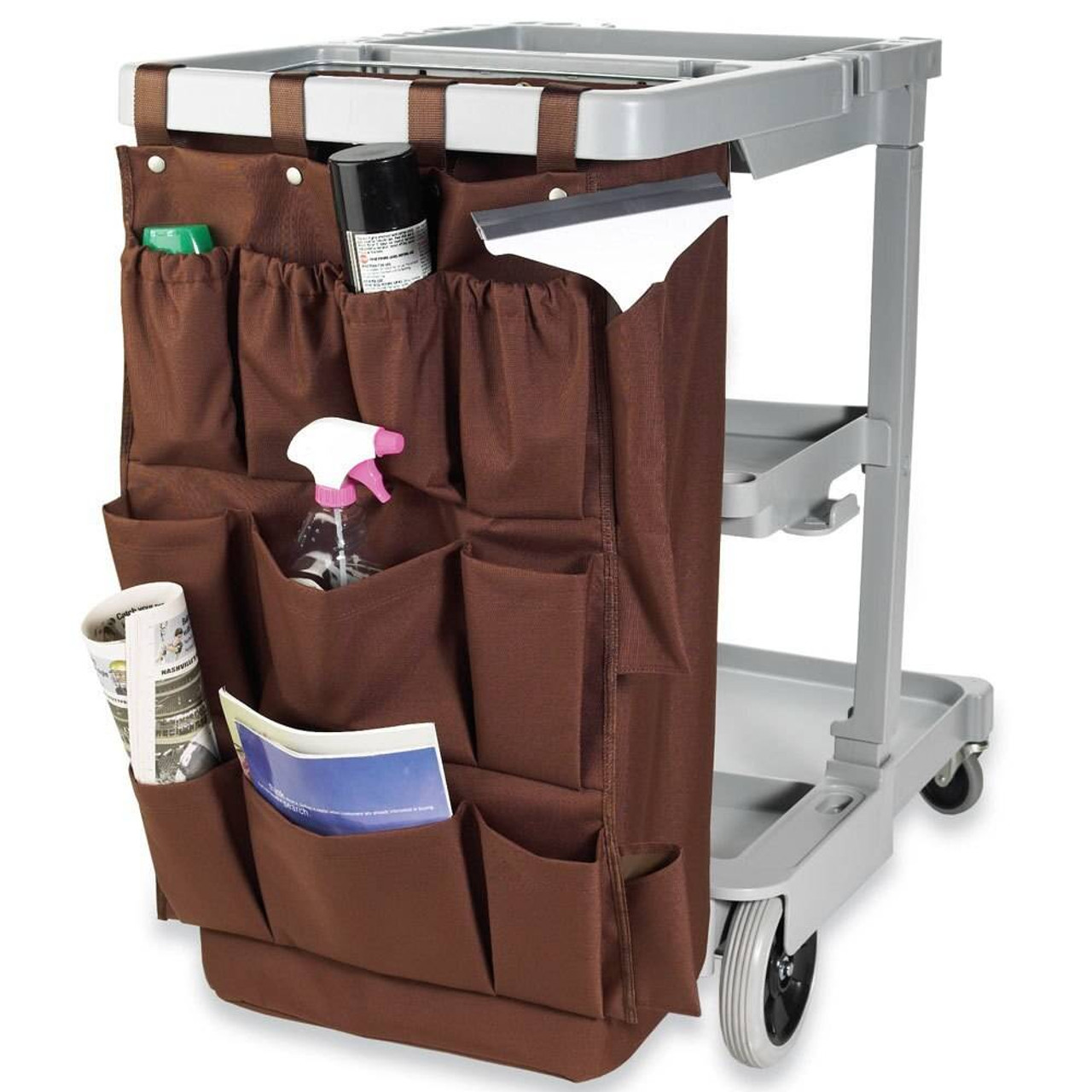 HOSPITALITY 1 SOURCE HOSPITALITY 1 SOURCE or 12 POCKET or X DUTY HOUSEKEEPING or CADDY BAGS or 19x32 or BROWN or 5 PER CASE