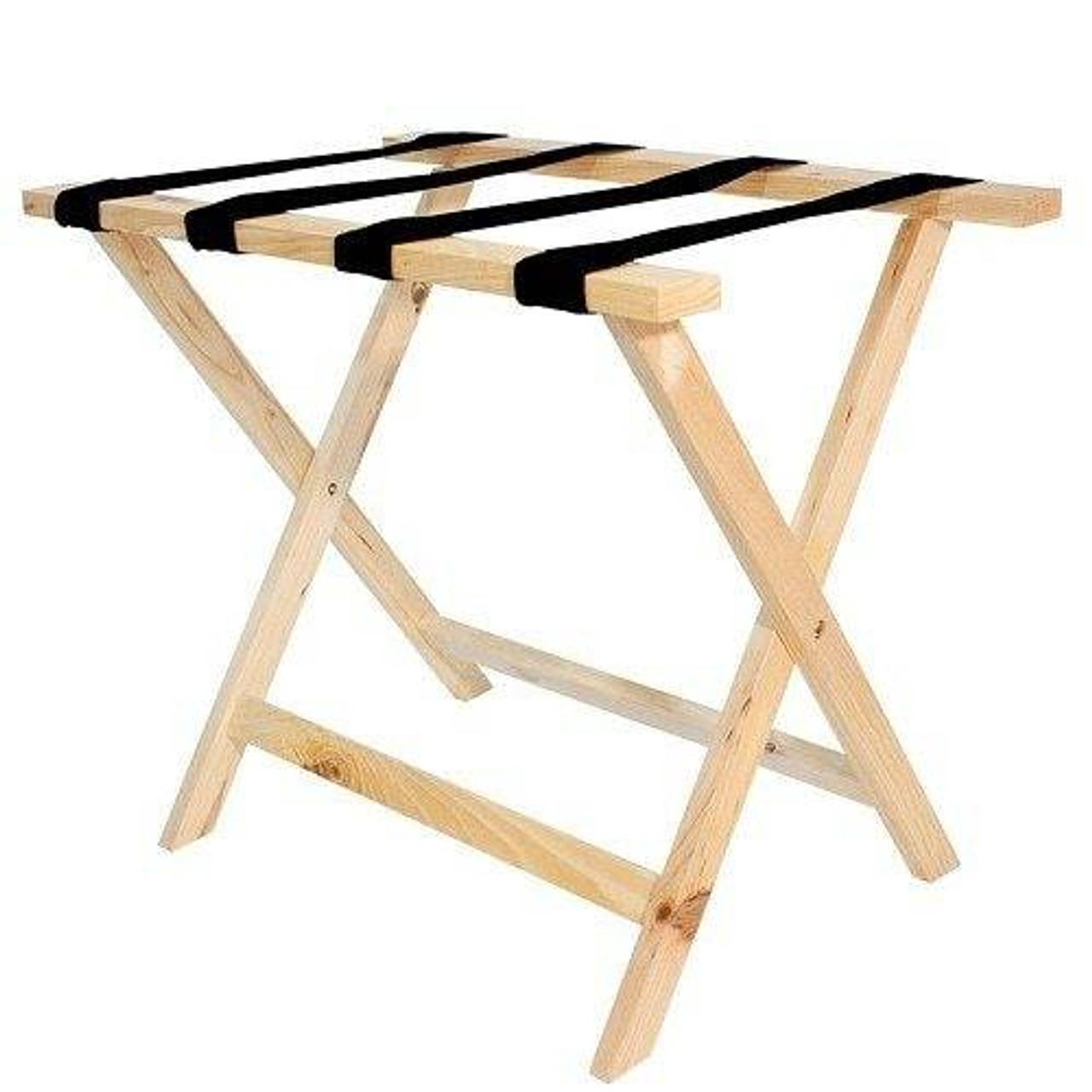 HOSPITALITY 1 SOURCE HOSPITALITY 1 SOURCE or DELUXE WOODEN LUGGAGE RACK or BLACK STRAPS or NATURAL FINISH or 4 PER CASE