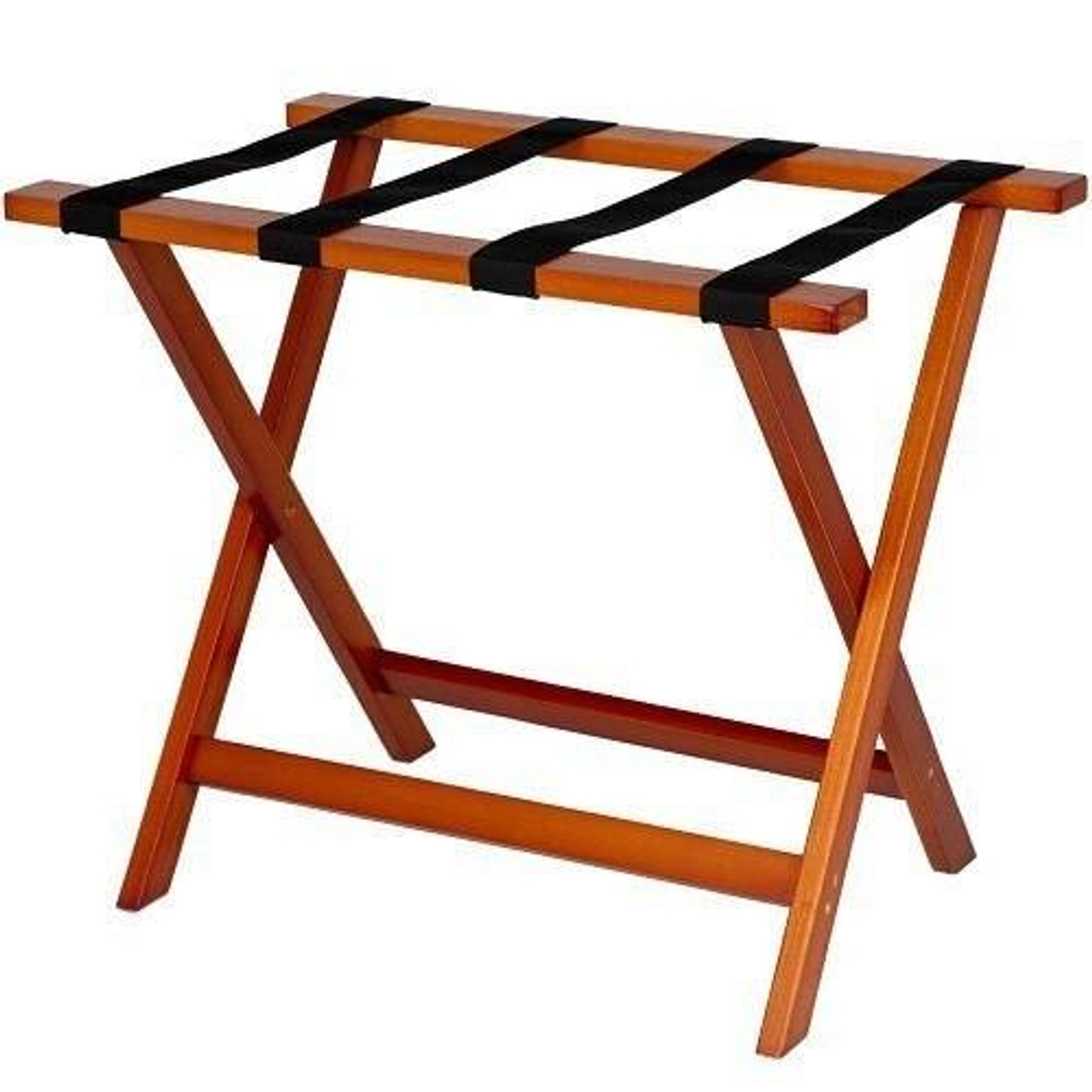 HOSPITALITY 1 SOURCE HOSPITALITY 1 SOURCE or DELUXE WOODEN LUGGAGE RACK or BLACK STRAPS or LIGHT MAHOGANY FINISH or 4 PER CASE