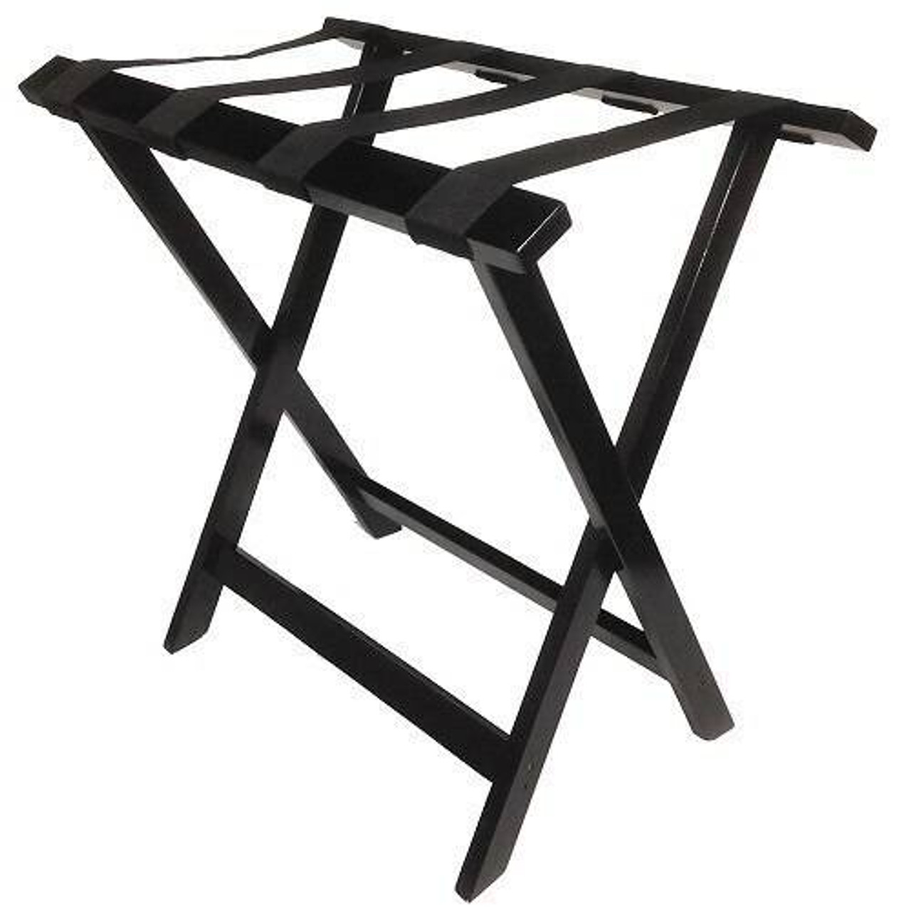 HOSPITALITY 1 SOURCE HOSPITALITY 1 SOURCE or TALL WOODEN LUGGAGE RACK or BLACK STRAPS or ESPRESSO FINISH or 4 PER CASE