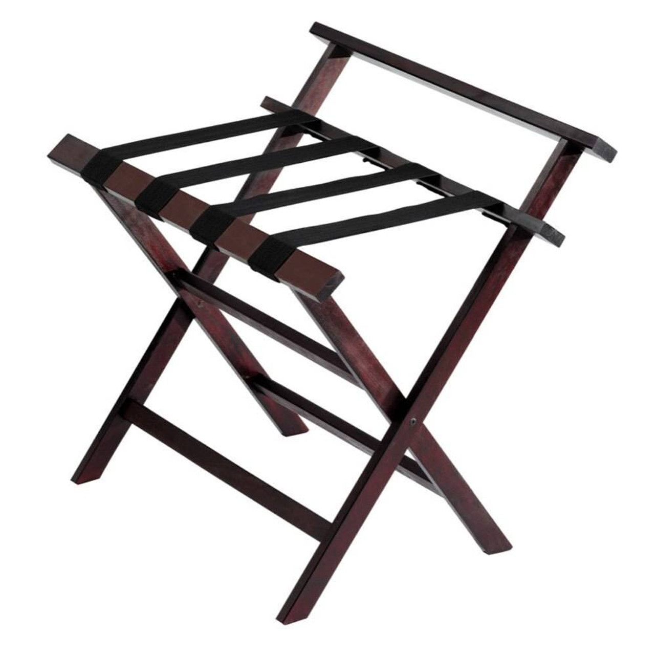 HOSPITALITY 1 SOURCE HOSPITALITY 1 SOURCE or PRESTIGE WOODEN LUGGAGE RACK or BACKREST or BLACK STRAPS or DARK CHERRY FINISH or 4 PER CASE