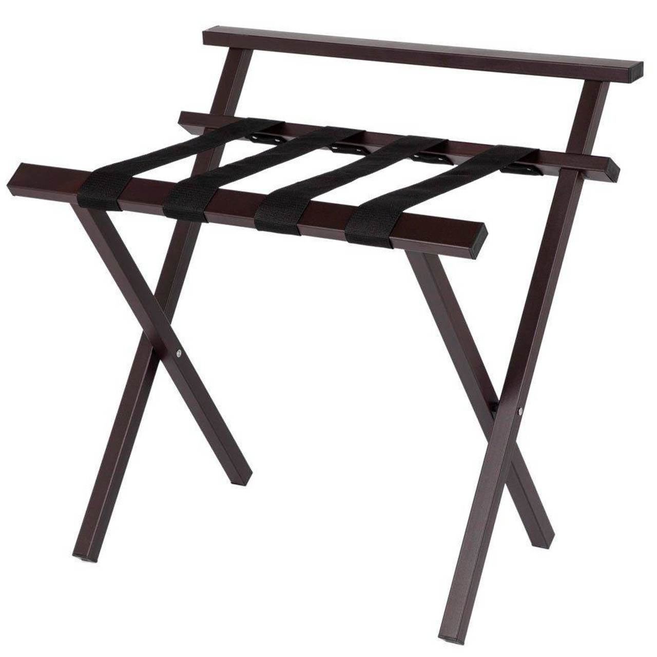 HOSPITALITY 1 SOURCE HOSPITALITY 1 SOURCE or METROPOLITAN POWDER COAT LUGGAGE RACK or BACK and BLACK STRAPS or BROWN FINISH or 4 PER CASE