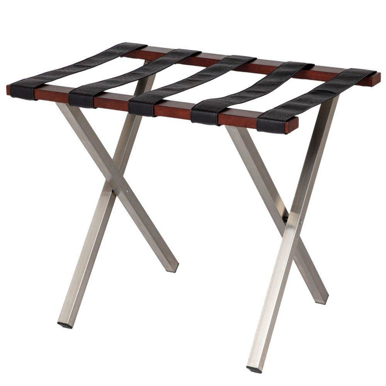 HOSPITALITY 1 SOURCE HOSPITALITY 1 SOURCE or UPTOWN LUGGAGE RACK or BLACK STRAPS or WALNUT FINISH or 4 PER CASE