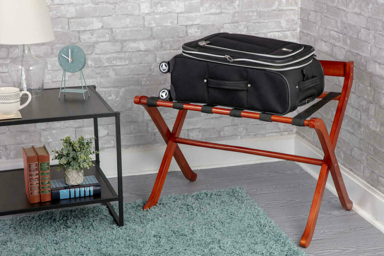 HOSPITALITY 1 SOURCE EXTRA-WIDE DELUXE WOOD LUGGAGE RACK or PACK OF 2