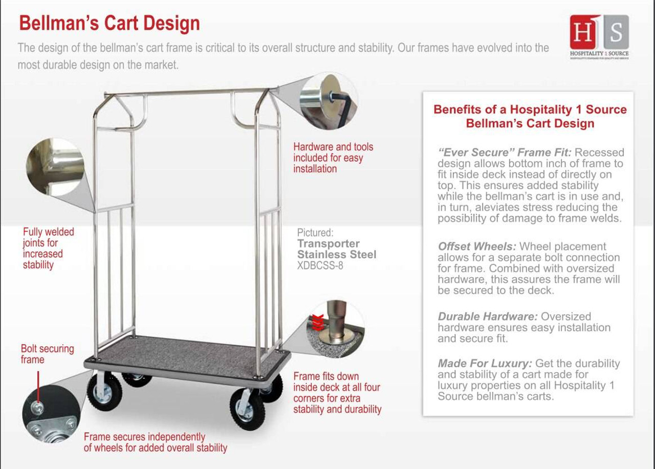HOSPITALITY 1 SOURCE BELLMAN CART or CONTEMPORARY SERIES - ALL STYLES