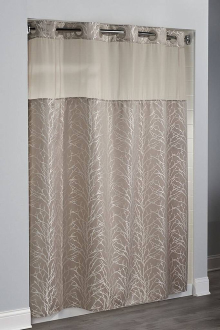 Focus Product Group Hookless Jacquard Tree Branch Shower Curtain in Taupe or Pack of 12
