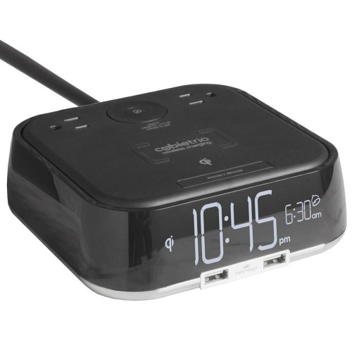 Brandstand BRANDSTAND CUBIETRIO ALARM CLOCK W/ QI WIRELESS CHARGING 2 USB PORTS and 2 POWER OUTLETS BLACK 16 PER CASE PRICE PER EACH