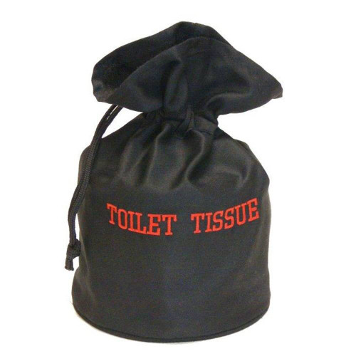 HOSPITALITY 1 SOURCE AMENITY BAGS or HOSPITALITY 1 SOURCE or BATH TISSUE BAG or BLACK/RED EMBROIDERY