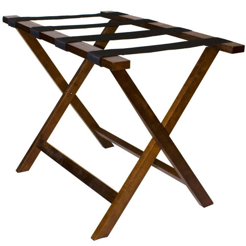 HOSPITALITY 1 SOURCE HOSPITALITY 1 SOURCE or DELUXE WOODEN LUGGAGE RACK or BLACK STRAPS or WALNUT FINISH or 4 PER CASE