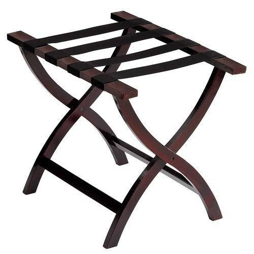 HOSPITALITY 1 SOURCE HOSPITALITY 1 SOURCE or PRESTIGE WOODEN LUGGAGE RACK or BLACK STRAPS or WALNUT FINISH or 2 PER CASE