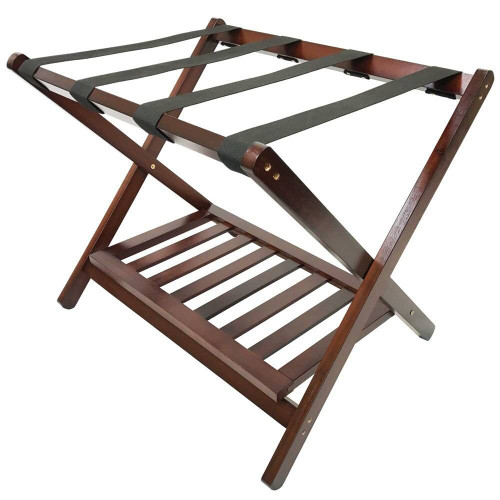 HOSPITALITY 1 SOURCE HOSPITALITY 1 SOURCE or DELUXE WOOD LUGGAGE RACK or SHOE SHELF or WALNUT FINISH or4 PER CASE
