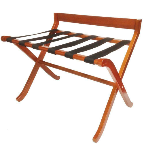 HOSPITALITY 1 SOURCE HOSPITALITY 1 SOURCE or EXTRA-WIDE DELUXE WOOD LUGGAGE RACK or BLACK STRAPS or LIGHT MAHOGANY FINISH or 2 PER CASE