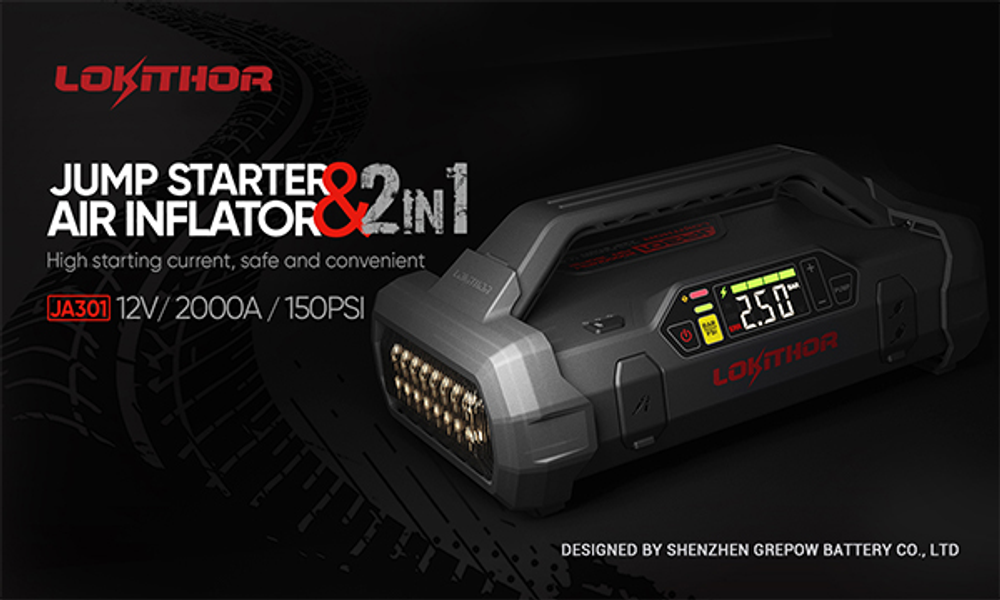 Grepow NEW Product! Lokithor JA301 Jump Starter  2000A 12V &150PSI Air Inflator