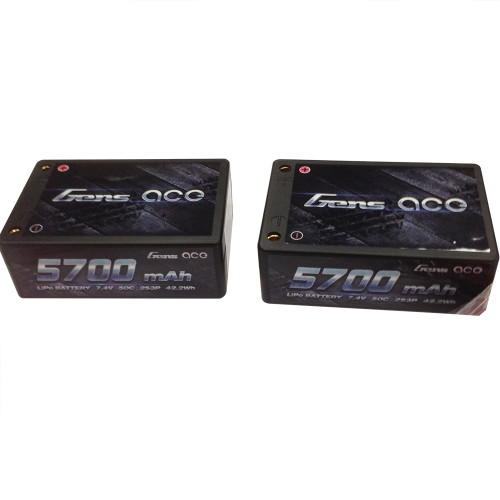 Gens ace 5700mAh 7.4V 50C 2S3P HardCase Lipo Battery Pack 12# with 4.0mm bullet to Deans Plug for rc