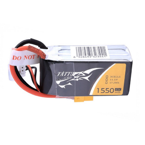 Tattu 1550mAh 45C 3S1P Lipo Battery Pack with XT60 Plug