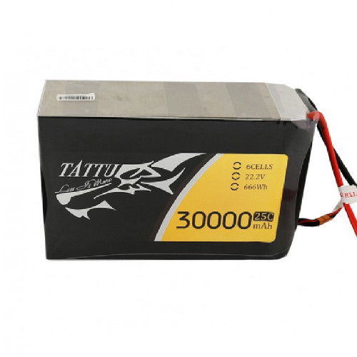 Tattu 22.2V 25C 30000mAh 6S1P Lipo Battery Pack with AS150+XT150 Plug