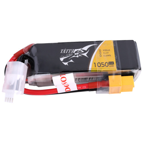 Tattu 1050mAh 11.1V 45C 3S1P Lipo Battery Pack with XT60 Plug