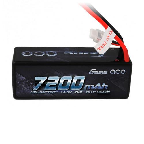 Gens ace 7200mAh 14.8V 70C 4S1P HardCase Lipo Battery 14# with Deans Plug