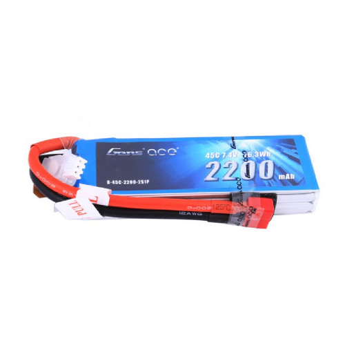 Gens ace 2200mAh 7.4V 45C 2S1P Lipo Battery Pack with Deans Plug for Scale Vehicles