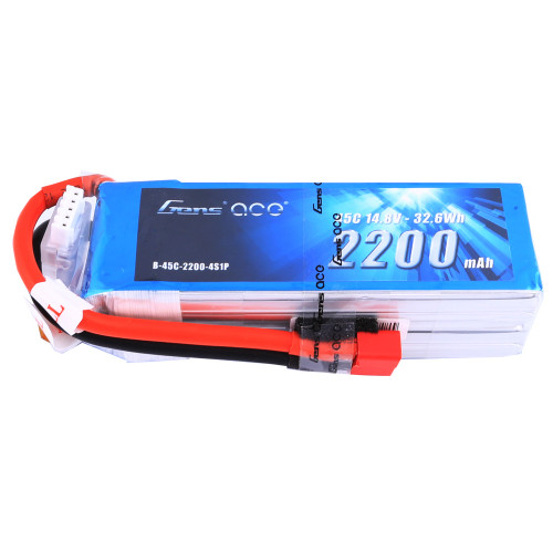 Gens ace 2200mAh 14.8V 45C 4S1P Lipo Battery Pack with Deans Plug for RC Hobby