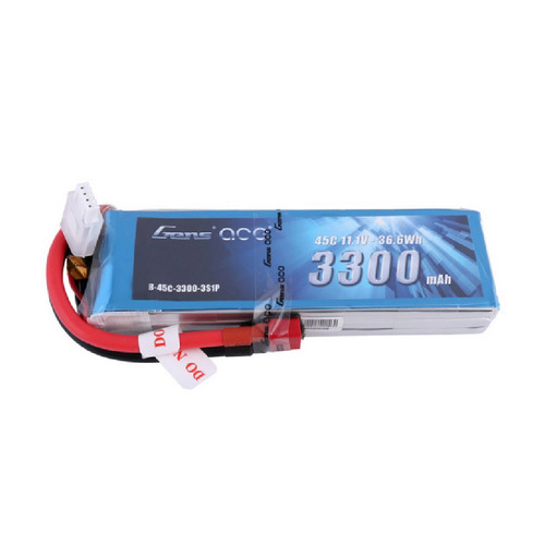 Gens ace 3300mAh 11.1V 45C 3S1P Lipo Battery Pack with Deans Plug for Glider