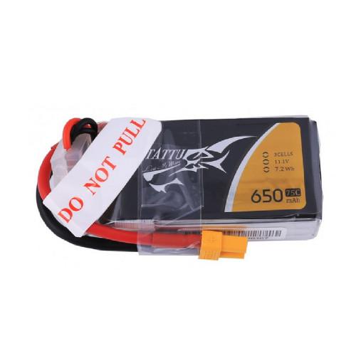 Tattu 3S1P 75C 11.1V 650mAh Lipo Battery Pack with XT30 Plug for uav