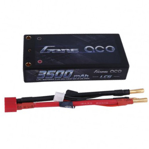Gens ace 3500mAh 7.4V 60C 2S1P HardCase Lipo Battery Pack 58# with 4.0mm bullet to Deans plug
