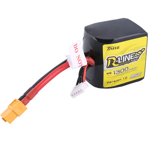 Tattu R-Line 1300mAh 95C 4S1P Square lipo battery pack with XT60 Plug