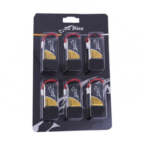 Tattu 25C 1S 3.7 v 600mah Lipo Battery Pack with Molex Plug ( 6pcs)