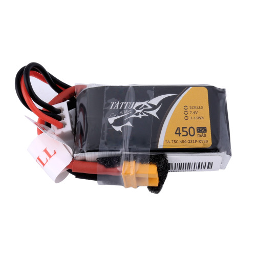 Tattu 450mAh 7.4V 75C 2S1P Lipo Battery Pack with XT30 plug